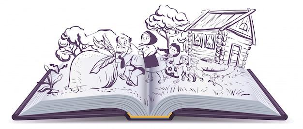 Russian fairy tale the turnip. open book