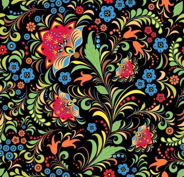 Russian floral ornament seamless pattern