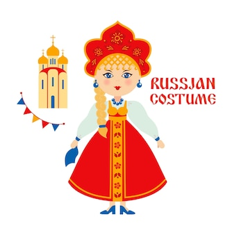 Russian folk costume, russian woman with church, temple.