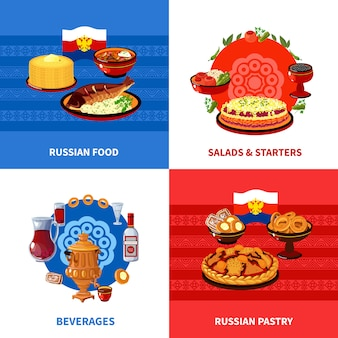 Russian food elements design