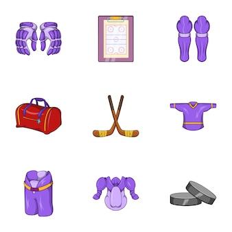 Russian hockey set, cartoon style
