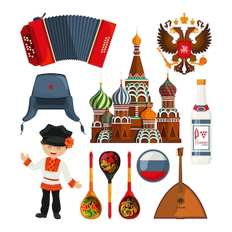 Russian landmarks and different traditional symbols.