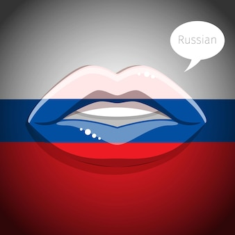 Russian language concept. glamour lips with make-up of the  russian flag