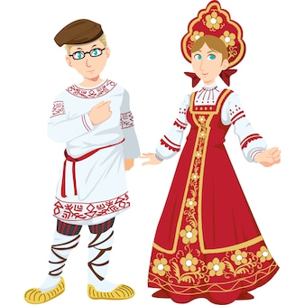 Russian man and woman in the traditional clothing isolated on white background.