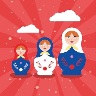 Russian matryoshka dolls with clouds
