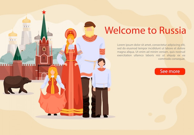 Russian in national costume, informative banner template
