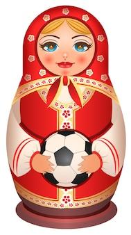 러시아 중첩 인형 Matryoshka는 축구 공을 보유하고 있습니다. 흰색 그림에 고립 프리미엄 벡터