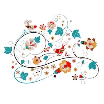 ロシアの飾り、花と鳥