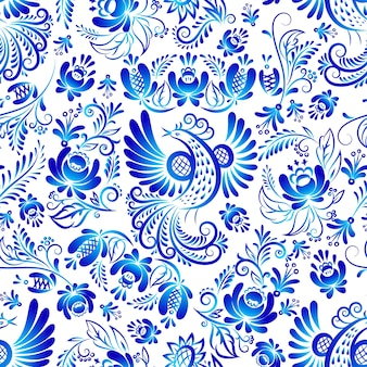 Russian ornaments gzhel art seamless pattern, illustration of blue colored flowers and bird.