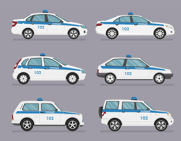 Russian police car. side view on grey background. translation - police.