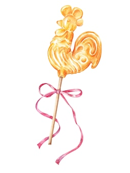 Russian rooster, cockerel lollipop with pink bow, isolated watercolor illustration