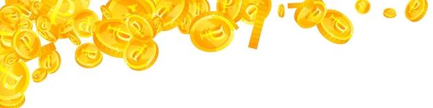 Падение российских рублевых монет. причудливые разбросанные рублевые монеты. деньги россии. великолепный джекпот, концепция богатства или успеха. векторная иллюстрация.
