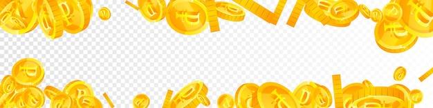 Падение российских рублевых монет. любопытные разбросанные рублевые монеты. деньги россии. достойный джекпот, богатство или концепция успеха. векторная иллюстрация.