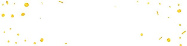 Падение российских рублевых монет. симпатичные разбросанные монеты rub. деньги россии. удивительный джекпот, концепция богатства или успеха. векторная иллюстрация.