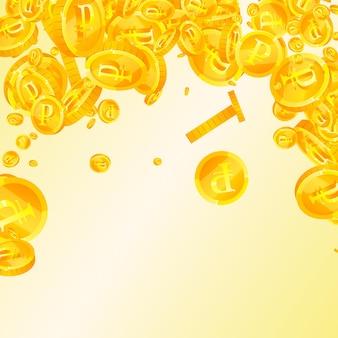 Падение российских рублевых монет. приличные раскиданные рублевые монеты. деньги россии. гламурный джекпот, концепция богатства или успеха. векторная иллюстрация.