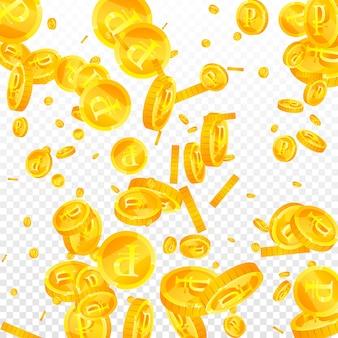 떨어지는 러시아 루블 동전. 극적으로 흩어져있는 rub 동전. 러시아 돈. 훌륭한 잭팟, 부 또는 성공 개념. 벡터 일러스트 레이 션.