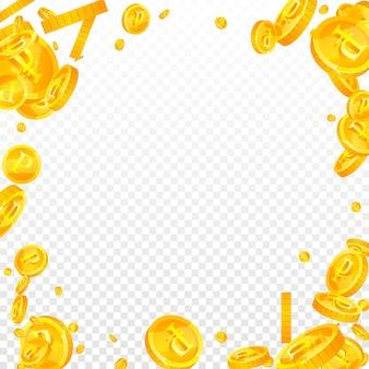 Падение российских рублевых монет. необычные разбросанные рублевые монеты. деньги россии. достойный джекпот, богатство или концепция успеха. векторная иллюстрация.