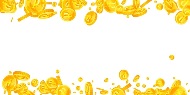 Падение российских рублевых монет. благоприятные разбросанные рублевые монеты. деньги россии. свежий джекпот, богатство или концепция успеха. векторная иллюстрация.