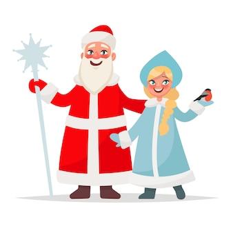 ロシアのサンタクロース。祖父フロストと白い背景の上の雪の乙女。おかしい新年の文字。漫画のスタイルのイラスト
