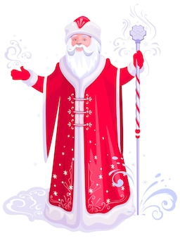 Russian santa claus grandfather frost in red coat stand with ice staff  cartoon