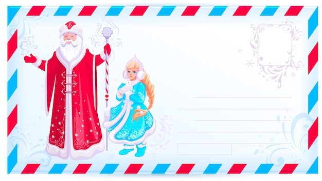 Russian santa claus and snow maiden design christmas card template envelope for letter
