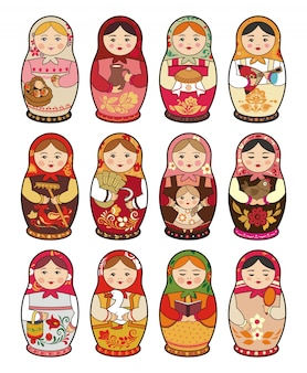 Russian traditional babushka doll, matryoshka, set of illustrations