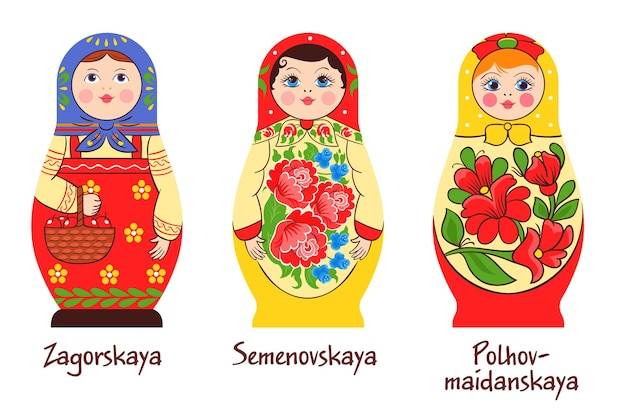 Russian traditional matryoshka set of three isolated images with different stacked dolls with different colouring artworks