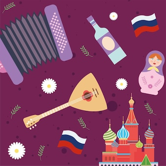 Russian traditional set icons pattern