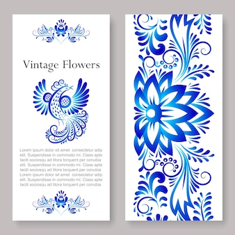 Russian vintage ornaments gzhel art, illustration of blue colored flowers two side flyer.