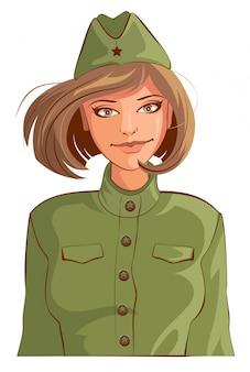 Русская женщина ретро солдат