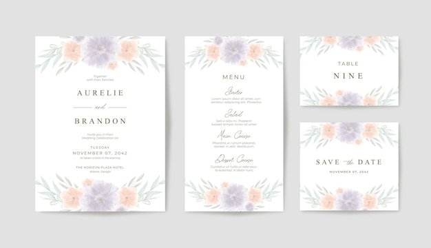 Деревенское и романтическое свадебное приглашение с красивой цветочной акварелью