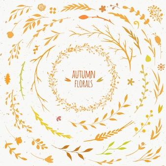 素朴な秋のコレクションベクトル花のセットの葉の花の枝とスティック秋の花輪