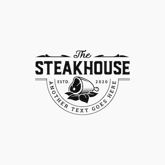 Rustic badge steak house logo design