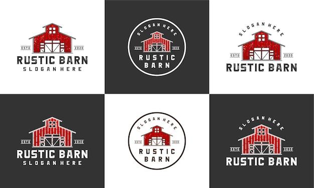マルチスタイルのコレクションと素朴な納屋のロゴのデザインテンプレート