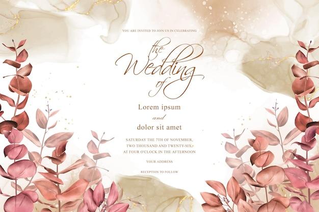 Дизайн приглашения на свадьбу осенью и осенью в деревенском богемном стиле