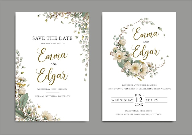 Приглашение на свадьбу в деревенском ботаническом стиле
