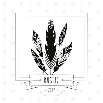 Rustic card with feathers ribbon decoration arrow image