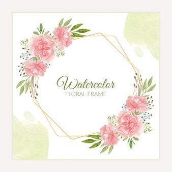 Rustic carnation floral frame in pink watercolor style