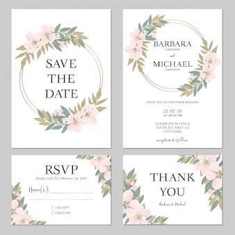 Rustic cherry blossom wedding invitation template