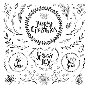 Rustic christmas set with floral elements hand drawn lettering and holiday wreaths