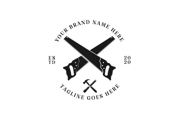 Деревенская пересеченная фреза для плотника или деревообрабатывающего вектора дизайна логотипа