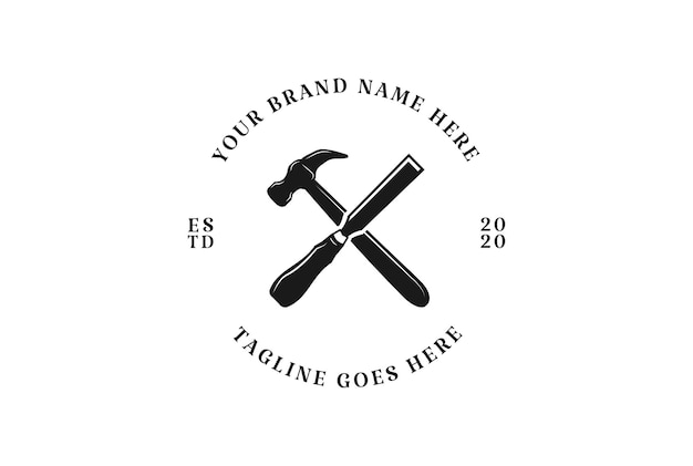 Rustic crossed hammer and chisel for carpenter or woodworking logo design vector