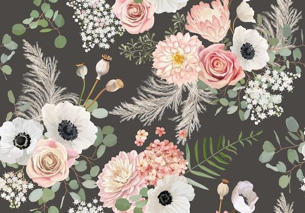 Узор в деревенском стиле сухоцветов. акварель анемона, цветок розы, листья эвкалипта, бесшовный фон вектор травы пампасов. летний бохо дизайн для свадьбы, текстильный принт, текстура обоев, фон