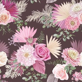 素朴なドライフラワー柄。水彩ダリア、バラの花、ヤシの葉、パンパスグラスベクトルシームレスな背景。結婚式、テキスタイルプリント、壁紙のテクスチャ、背景の熱帯自由奔放に生きるデザイン