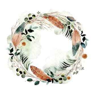 Деревенский перо и листва акварель венок