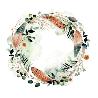 Rustic feather and foliage watercolor wreath