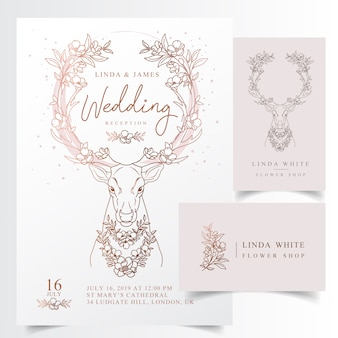 Rustic floral antler wedding invitation card