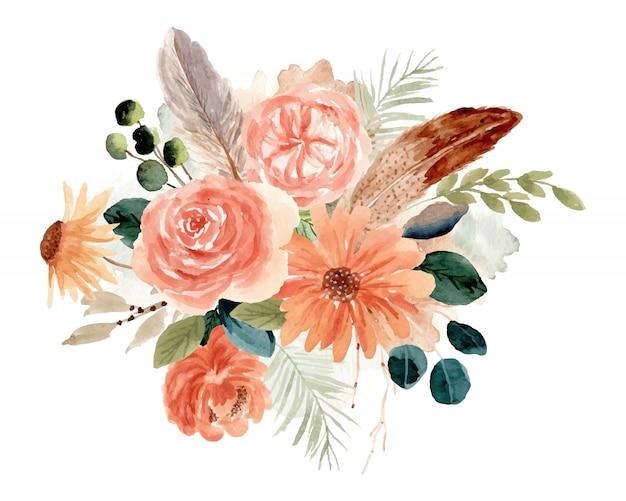 Деревенский цветочный букет акварель