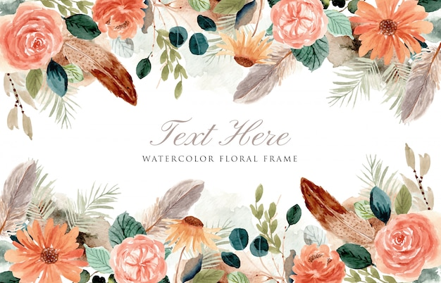 Rustic floral and feather frame watercolor background