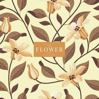 素朴な花柄のテンプレート